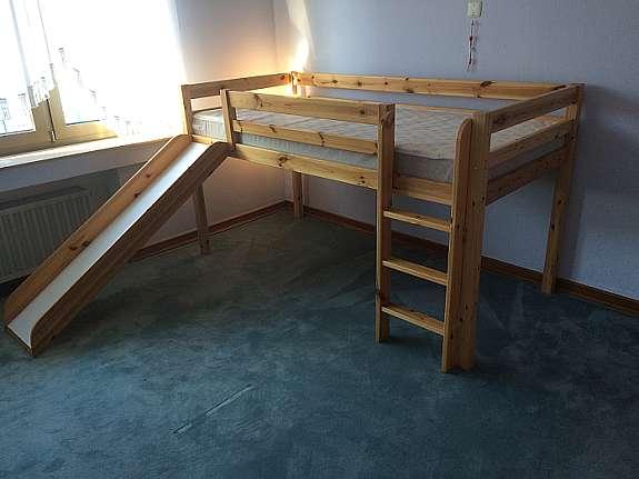 Hochbett Holz 90x200 : Hochbett holz mit rutsche hoork