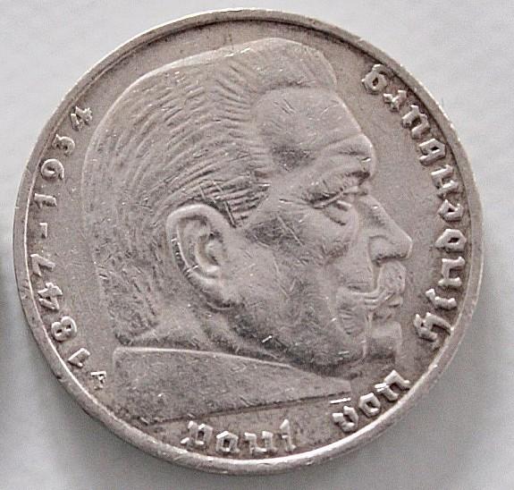 5 Reichsmark Drittes Reich Paul Von Hindenburg 1936 Hoorkcom
