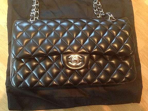 Chanel 2 55 Flap Bag Klassische Pattentasche Silberfarbigen Metall