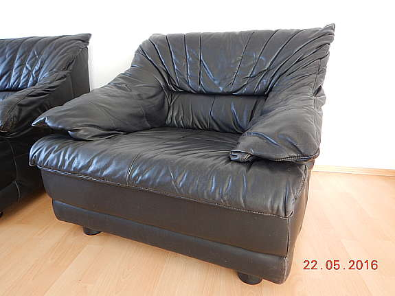Echtleder Couch Sessel Couchgarnitur Sofa Schwarz Hoork Com