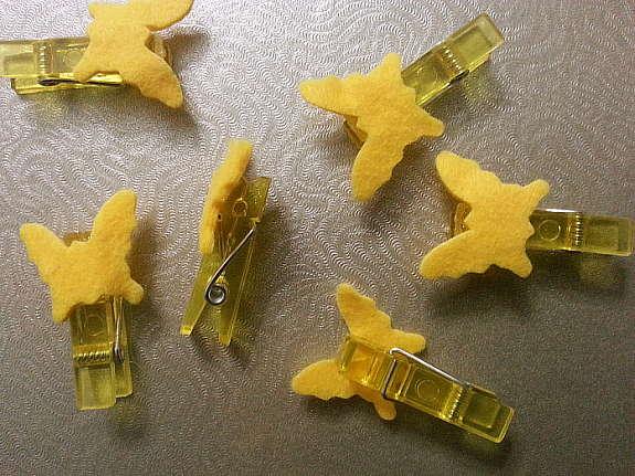 Kleine Wäscheklammern Mini Klammer Klämmerchen Schmetterling Gelb