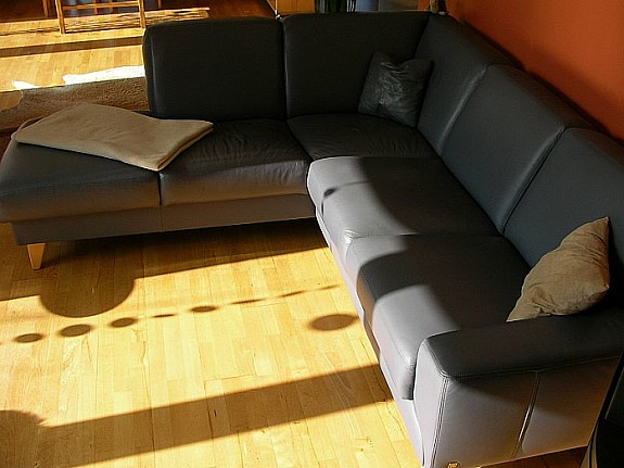 Musterring Sofa Couch Wohnlandschaft Ecksofa Leder Graublau Hoork Com