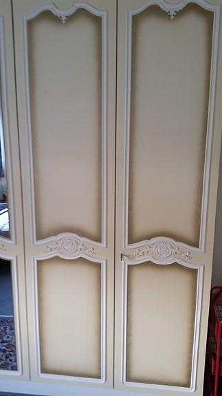 Antiker 3 Meter Kleiderschrank Mit Kommode Verziert Spiegelglas 1
