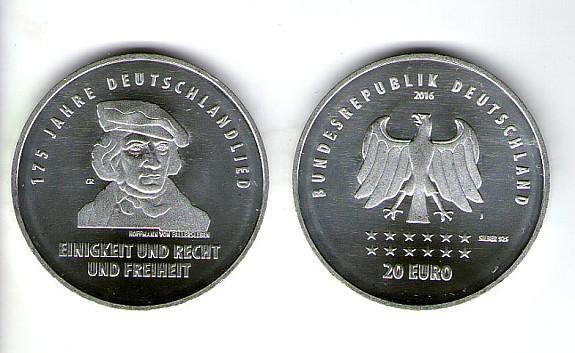 Neue 20 Eur Silbermünze Bankfrisch 175 Jahre Deutschlandlied